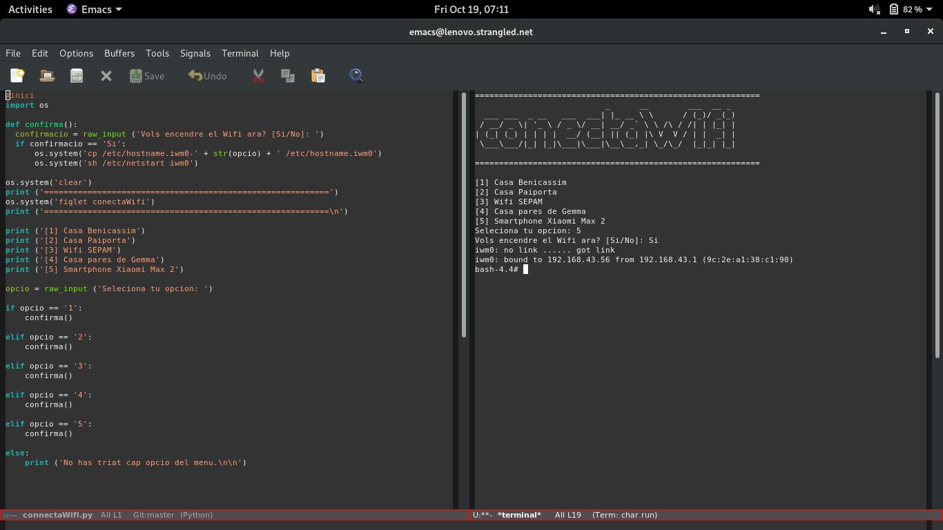 Utilitat connectaWifi.py per a connectar-me fàcilment a la xarxa al Thinkpad x250 amb OpenBSD